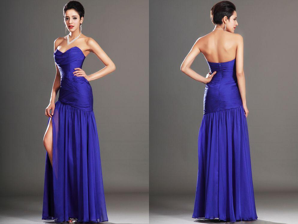 robe de soir e longue tencel bleu avec une jupe fluide et une fente lat rale jambe droite. Black Bedroom Furniture Sets. Home Design Ideas