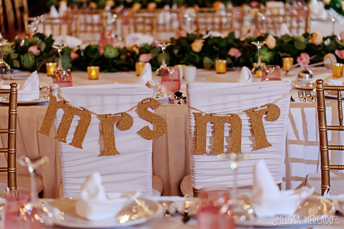 Personalized Mrs. + Mr. signs for chairs in gold! destination wedding decor ideas & Personalized Mrs. + Mr. signs for chairs in gold! destination ...