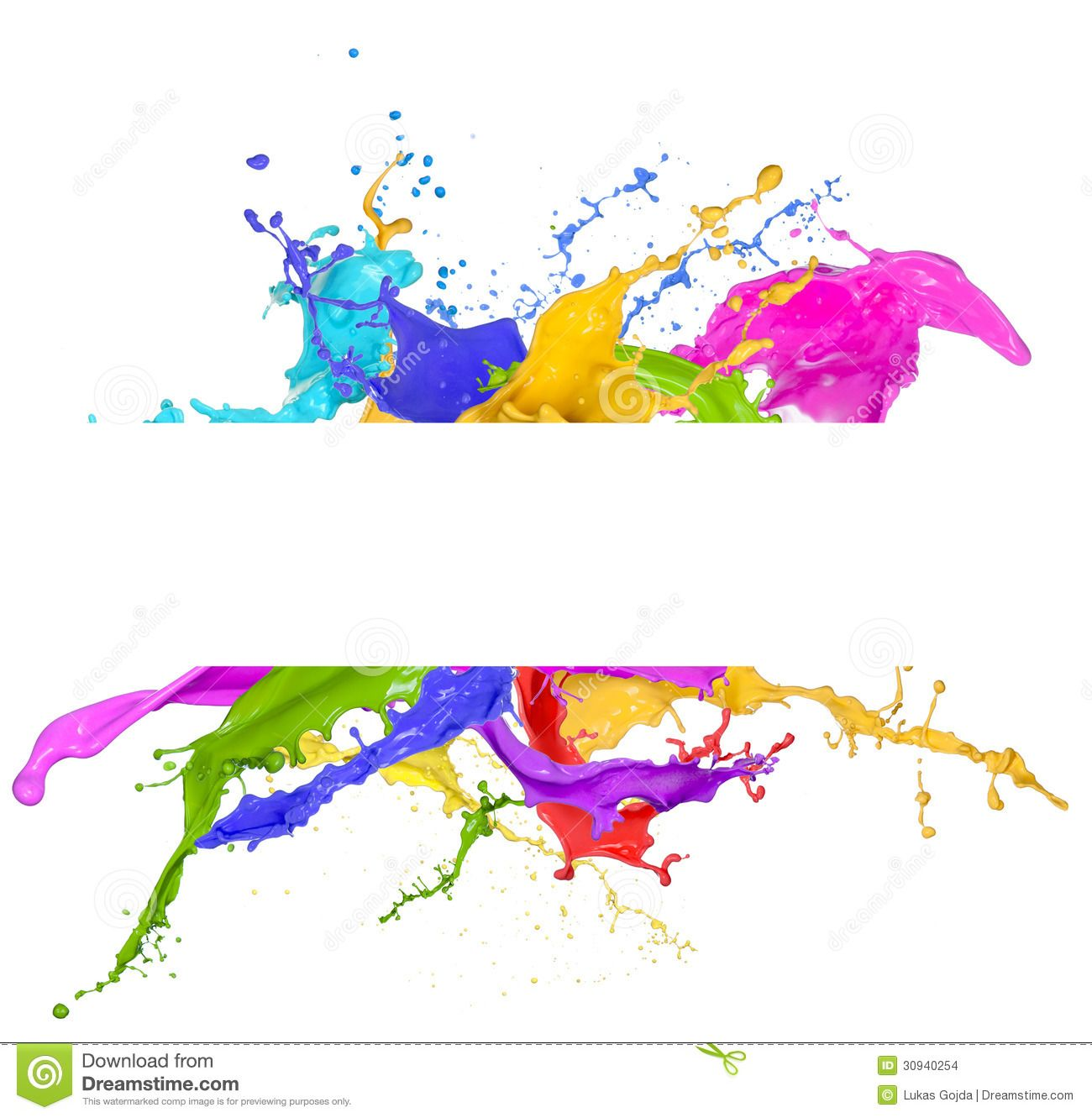 Colorful Paint Splash White Background