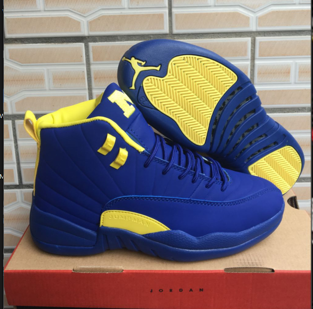 da1b8497e7e 2018 New Arrival Nike Air Jordan 12 Basketball Shoes Blue Yellow on  www.yoyonikejordan.com
