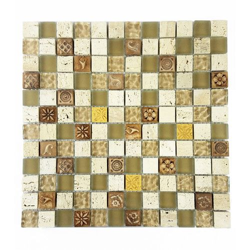 "Found it at Wayfair - Monarchy 1"" x 1"" Glass and Stone Mosaic Tile in Tuvalu"