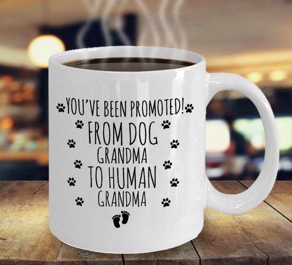 8980a33064d Dog Grandma to Human Grandma Mug, Baby Announcement to Mom, Grandma To Be,  Grandma Pregnancy Announc