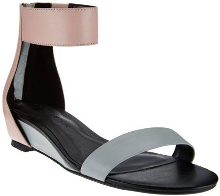 7d29d4111351dd H by Halston Leather Sandal with Mini Hidden Wedge - Bethany
