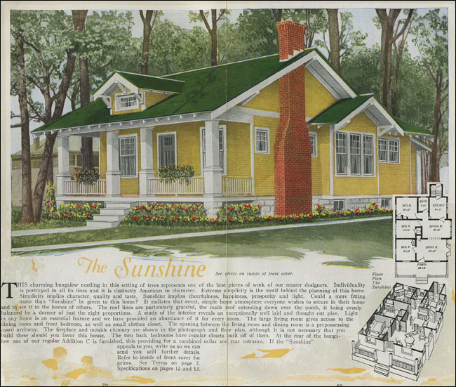 1920 House Plans Classic Craftsman style bungalow The Sunshine Aladdin Homes