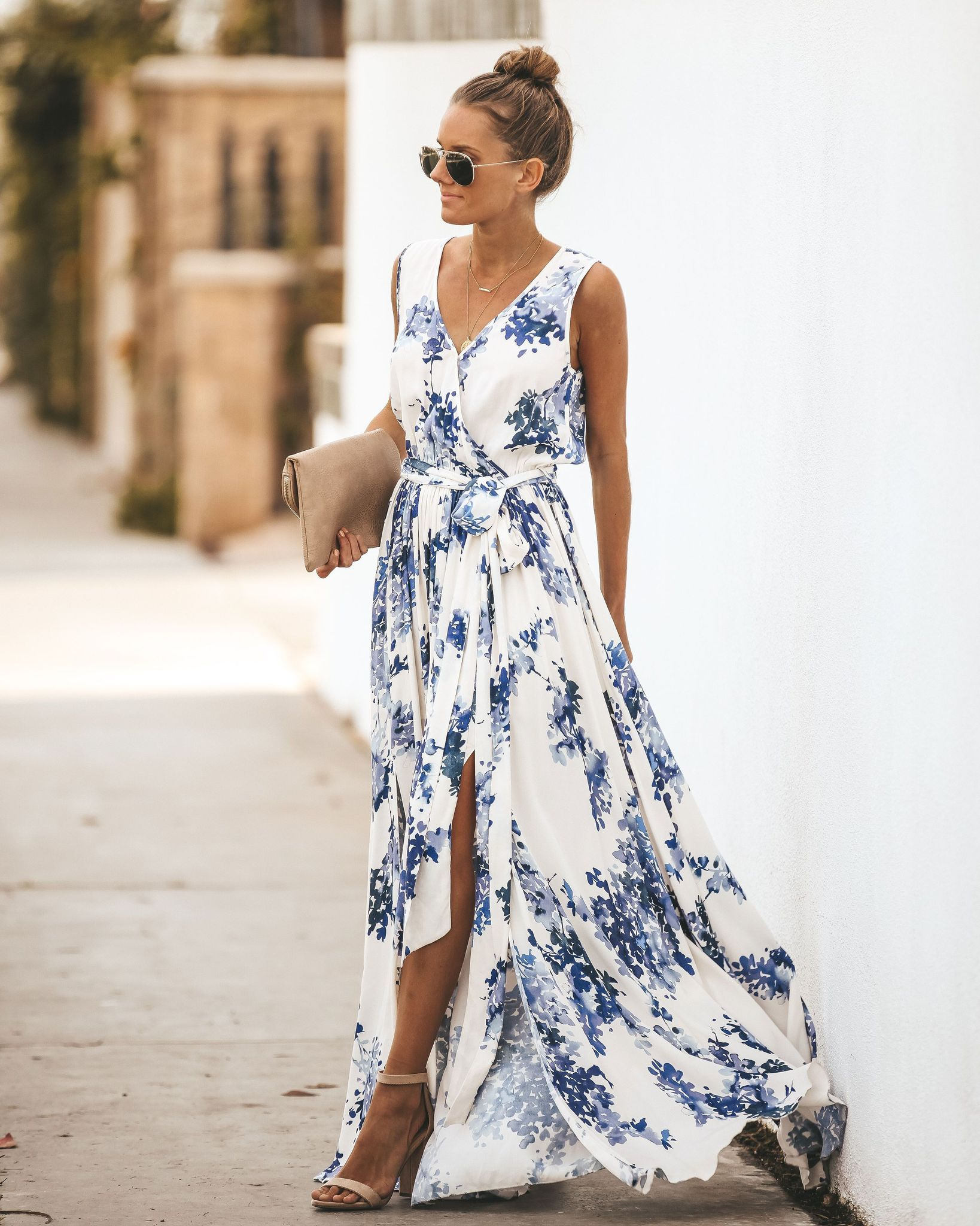 e76ca8990b Off White Floral Sleeveless Diana Maxi Dress in 2019 | Dress ...