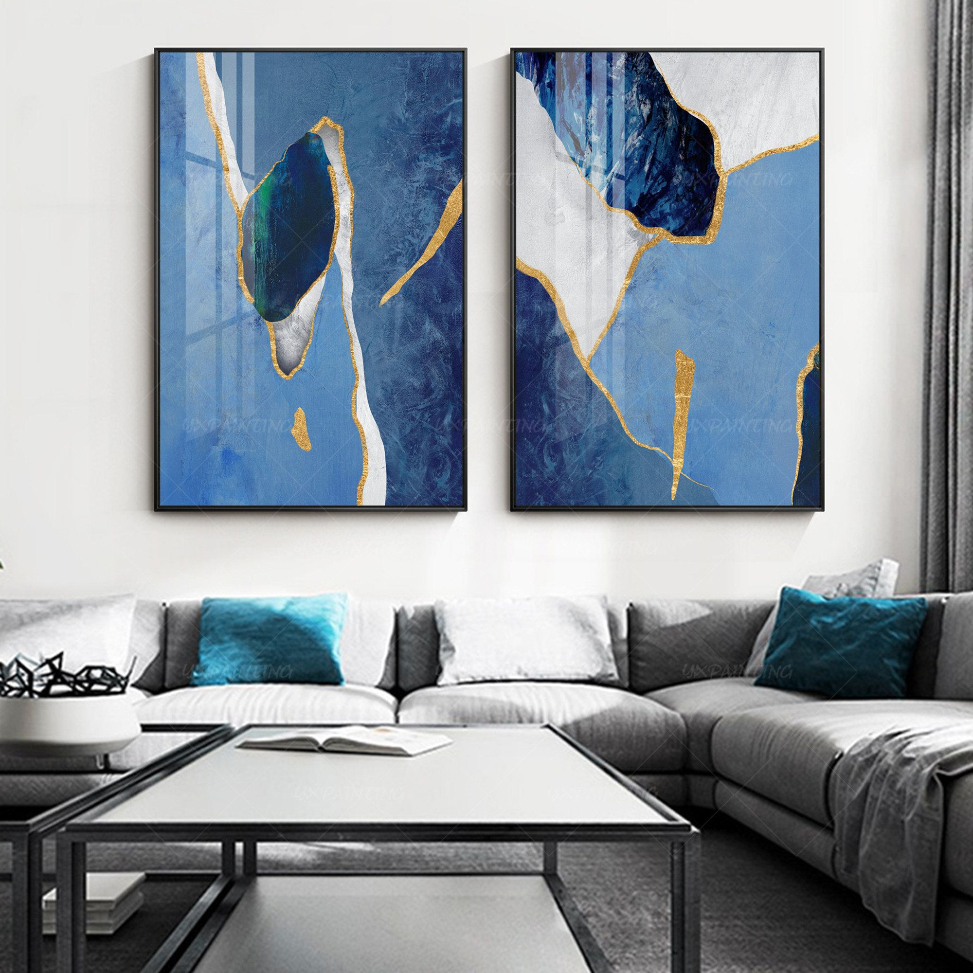 Gold Art 2 Pieces Wall Art Framed Painting Set Of 2 Wall Art Etsy In 2021 Framed Wall Art Sets Painting Frames Framed Wall Art