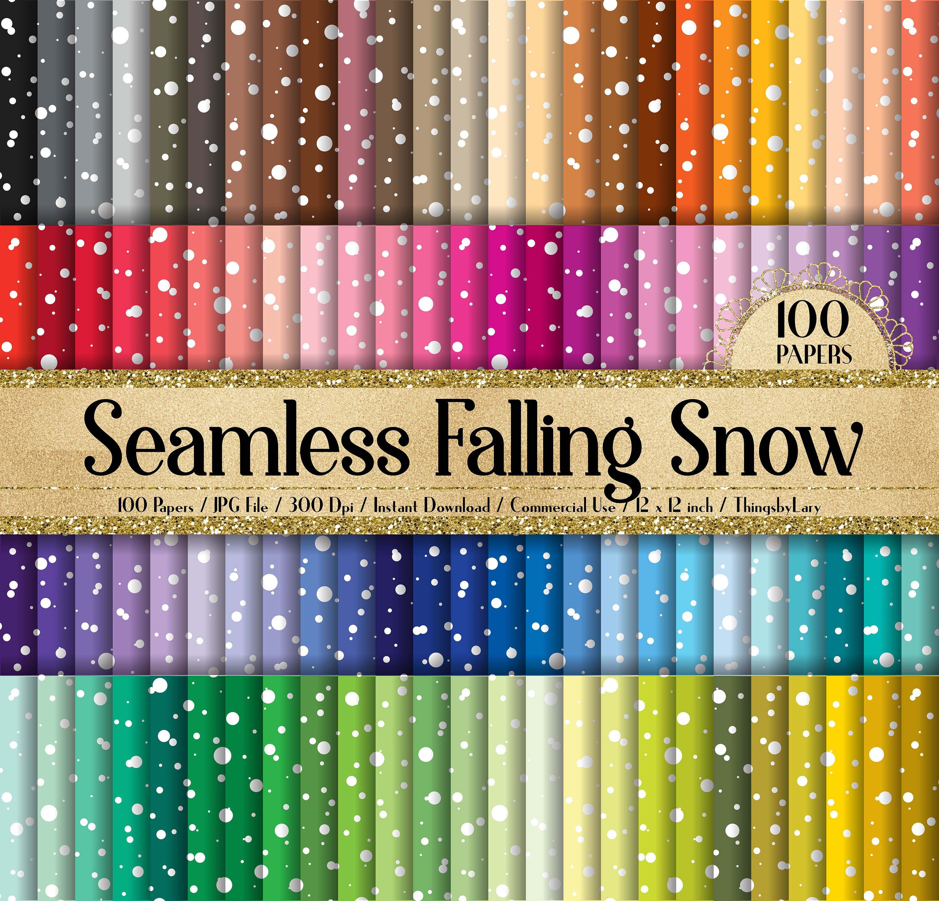 """100 Seamless Falling White Snow Digital Papers 12"""" 300 Dpi"""