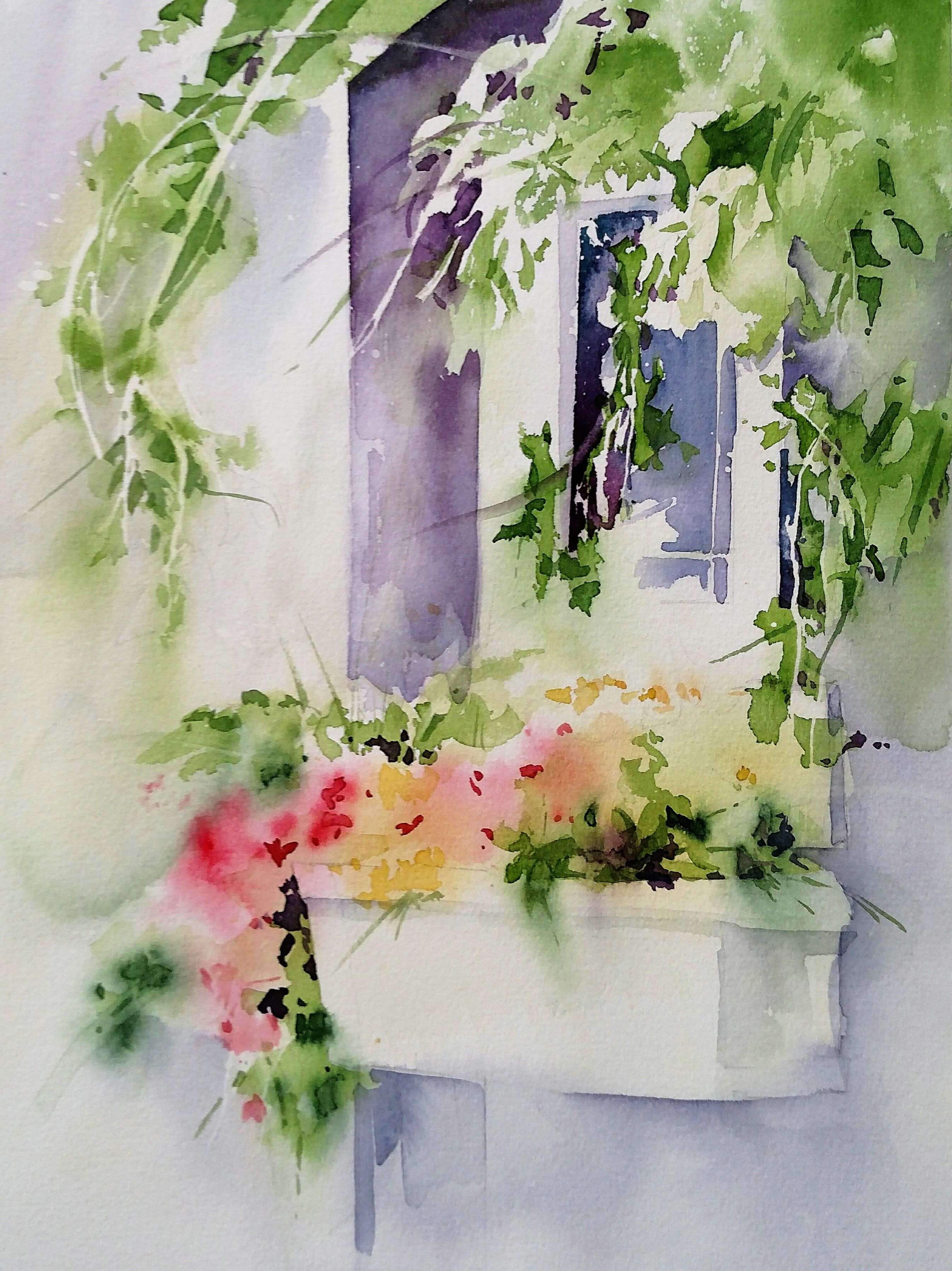 Seattle Windowbox Rick Surowicz Watercolors Floral Watercolor