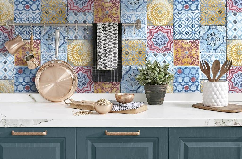 Colorful Moroccan Tile Peel And Stick Wallpaper By Nextwall Peel And Stick Wallpaper Moroccan Tile Removable Wallpaper