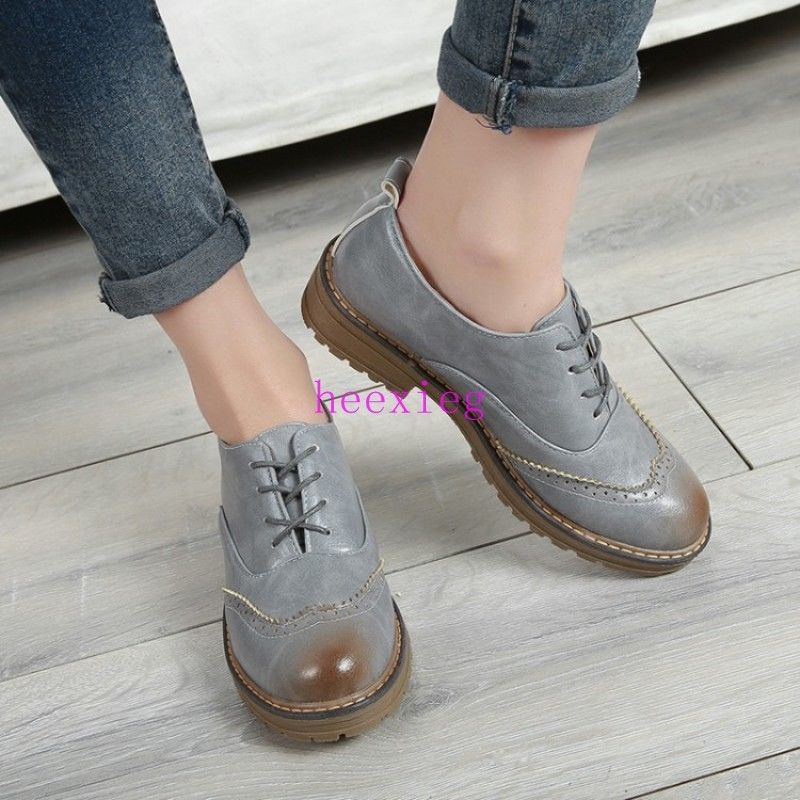 Men Lace Up Dress Formal Business Shoes Flat Round Toe Low Hidden Heel Plus size