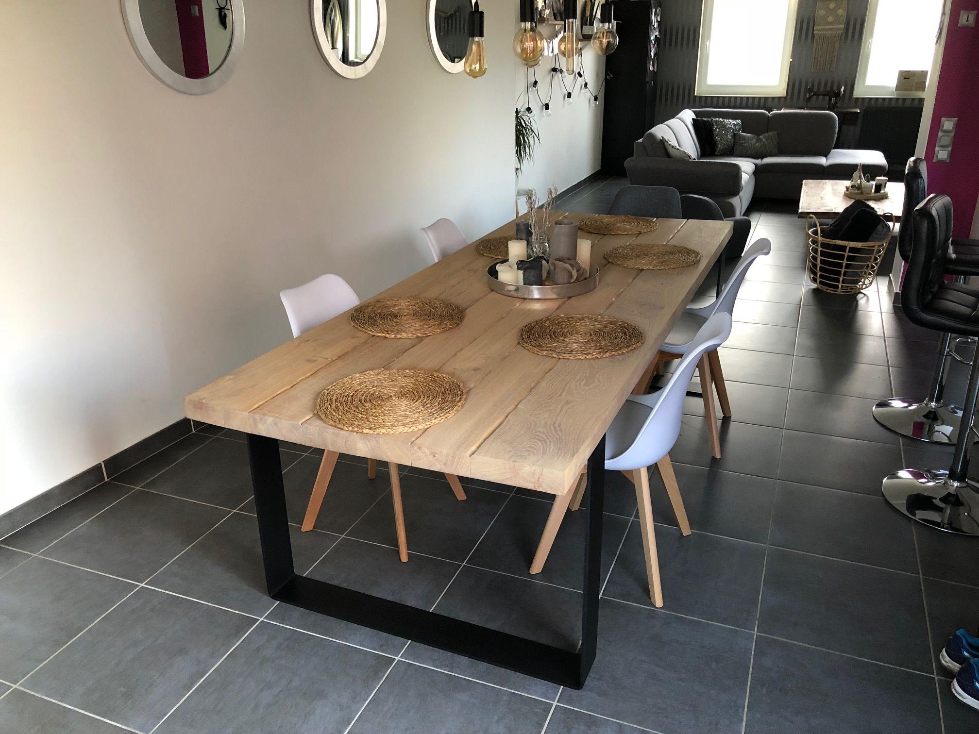 Table Elsa De 2m50 Sur 1m En Chene Massif Effet Vieille Planche