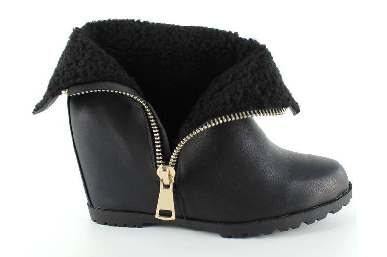 Botki Damskie Obuwiedamskie Czarne Botki Na Baranku Ukryty Koturn El025 Czarny Obuwie Damskie Designer Shoes Boots Shoes