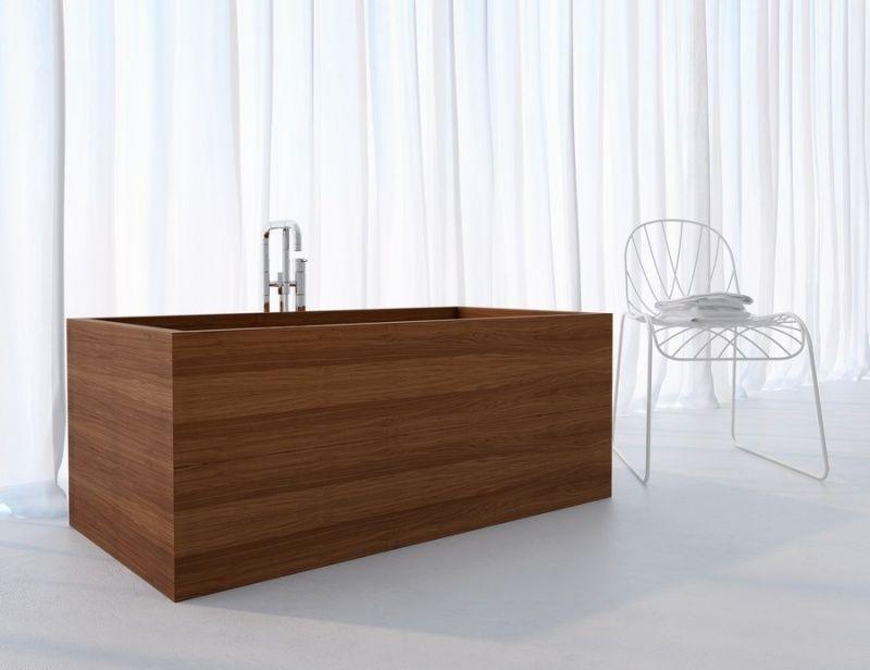 Meuble salle de bain en bois –armoires, sous-vasque et baignoire ...