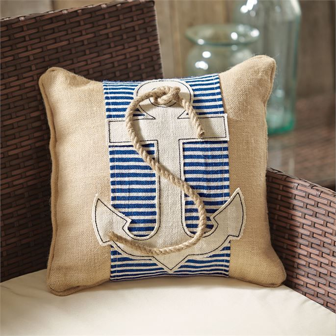 Mud Pie Anchor Pillow Wrap with jute rope