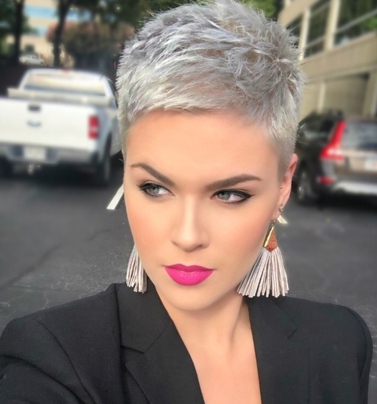excellent makeup and haircut