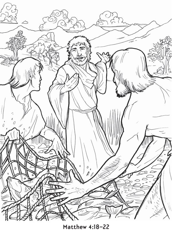 Jesus Call The Disciples Bible Coloring Pages Bible Coloring