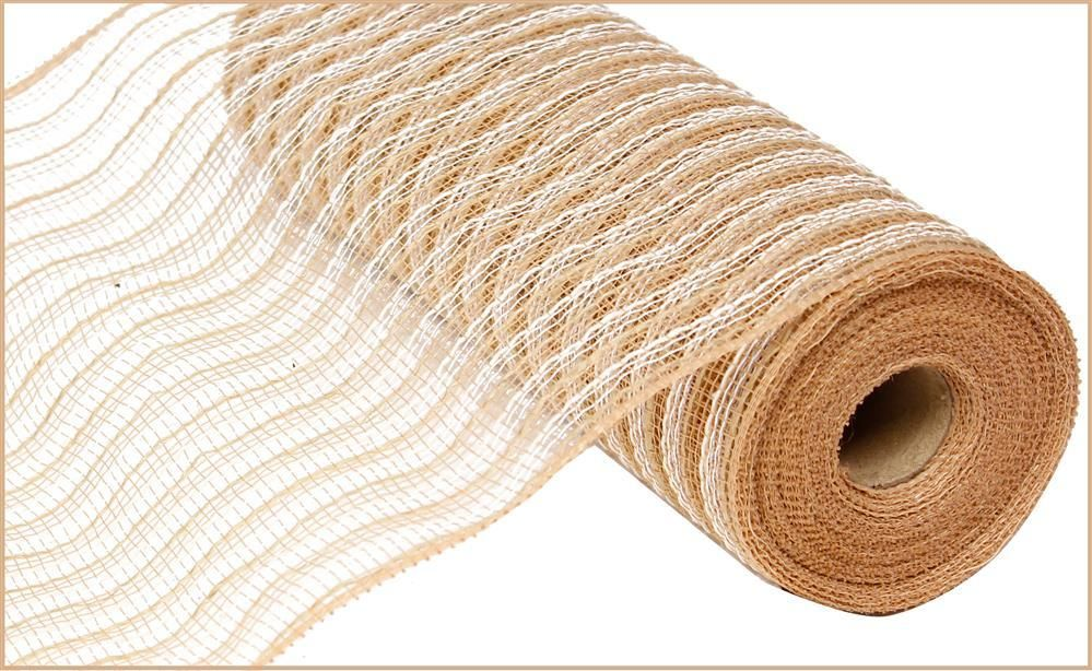 Poly Jute Deco Mesh Natural And White 10 5 Inch Deco Mesh Wreath Making Supplies Jute