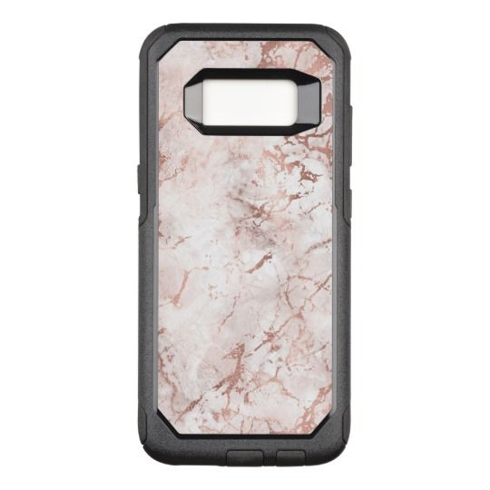 Pink, White and Rose Gold Faux Marble Texture OtterBox Commuter Samsung Galaxy S8 Case | Zazzle.com #marbletexture
