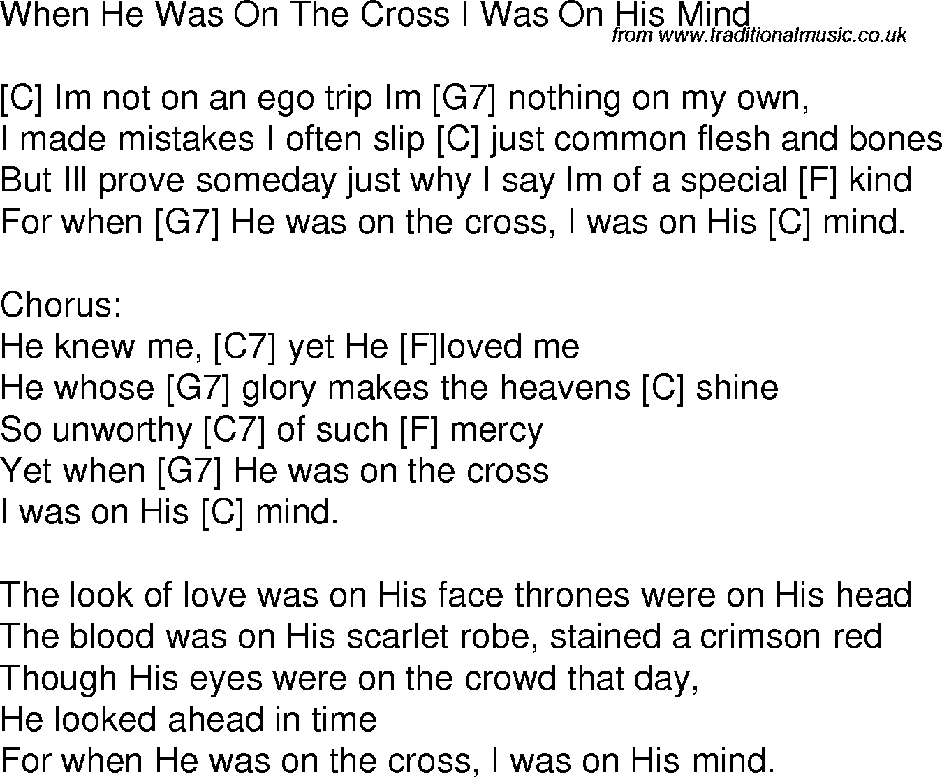 Old Time Song Lyrics With Chords For When He Was On The Cross I Was