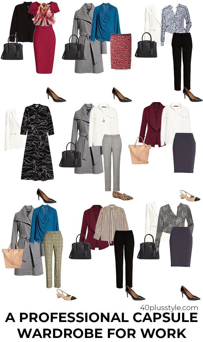 A Professional Capsule Wardrobe for Work | 40plusstyle.com    Source by 40plusstyle #40plusstylecom #Capsule #Professional #wardrobe #women clothes office #Work