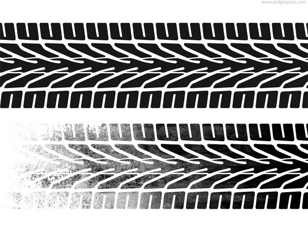 Car tires and track traces vector
