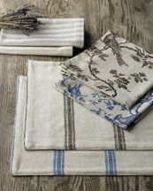 French Laundry Bird Toile And Ticking Linen Placemats And Napkins 50 60 French Table Linens Linen Placemats Ticking Stripe