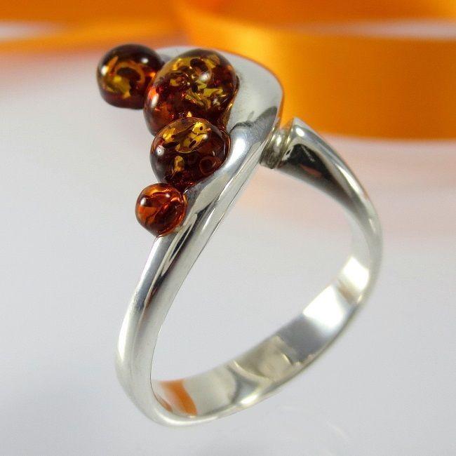 A032 Designer Ring 925 Sterling Silber Schmuck baltische Bernstein