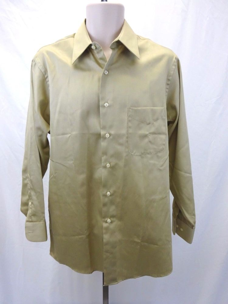 GEOFFREY BEENE Sateen Champagne Light Tan Button Down Shirt Men's ...