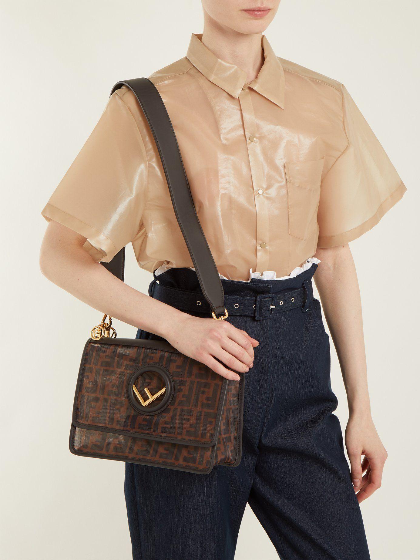 Kan I logo-embossed net mesh shoulder bag  6dd02ee963ba0