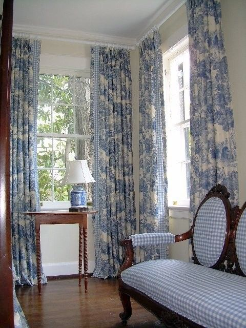 Fab blue toile and gingham My Blue--Home Pinterest Cortinas - cortinas azules