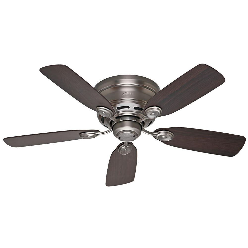 Hunter Oakhurst 52 In Led Indoor Low Profile Brushed Nickel Ceiling Fan With Light Kit With Remote Control Bundle Fan 52125r The Home Depot Ceiling Fan With Light Hunter Ceiling Fans