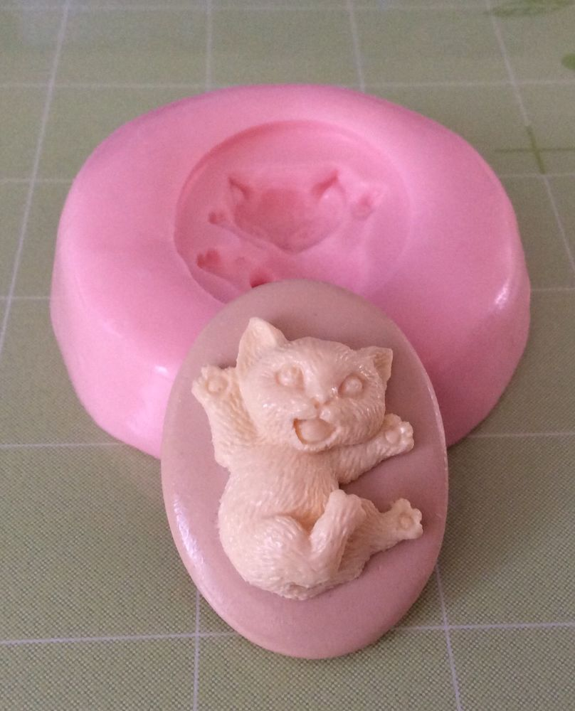 Cat kitten cameo silicone push mold resin clay mod podge melt molds