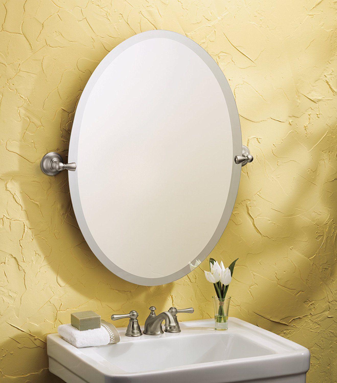 Amazoncom Moen Dn6892Bn Sage Bathroom Oval Tilting Mirror, Brushed Nickel