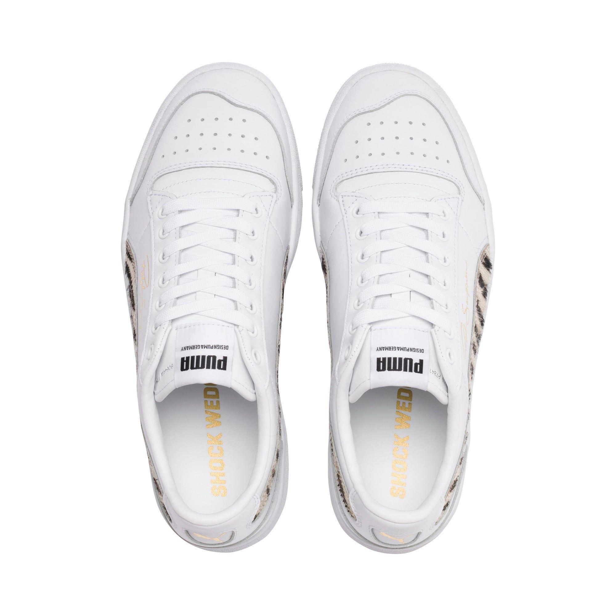 PUMA Ralph Sampson Lo Wild Trainers, White/Black/White, size 9, Shoes