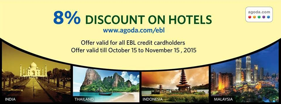 8 discount on hotel bookings ebl card goromgorom