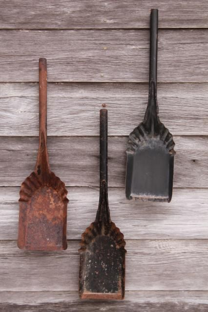 Primitive Wall Decor vintage coal shovels, metal scoops for stove scuttles, collection