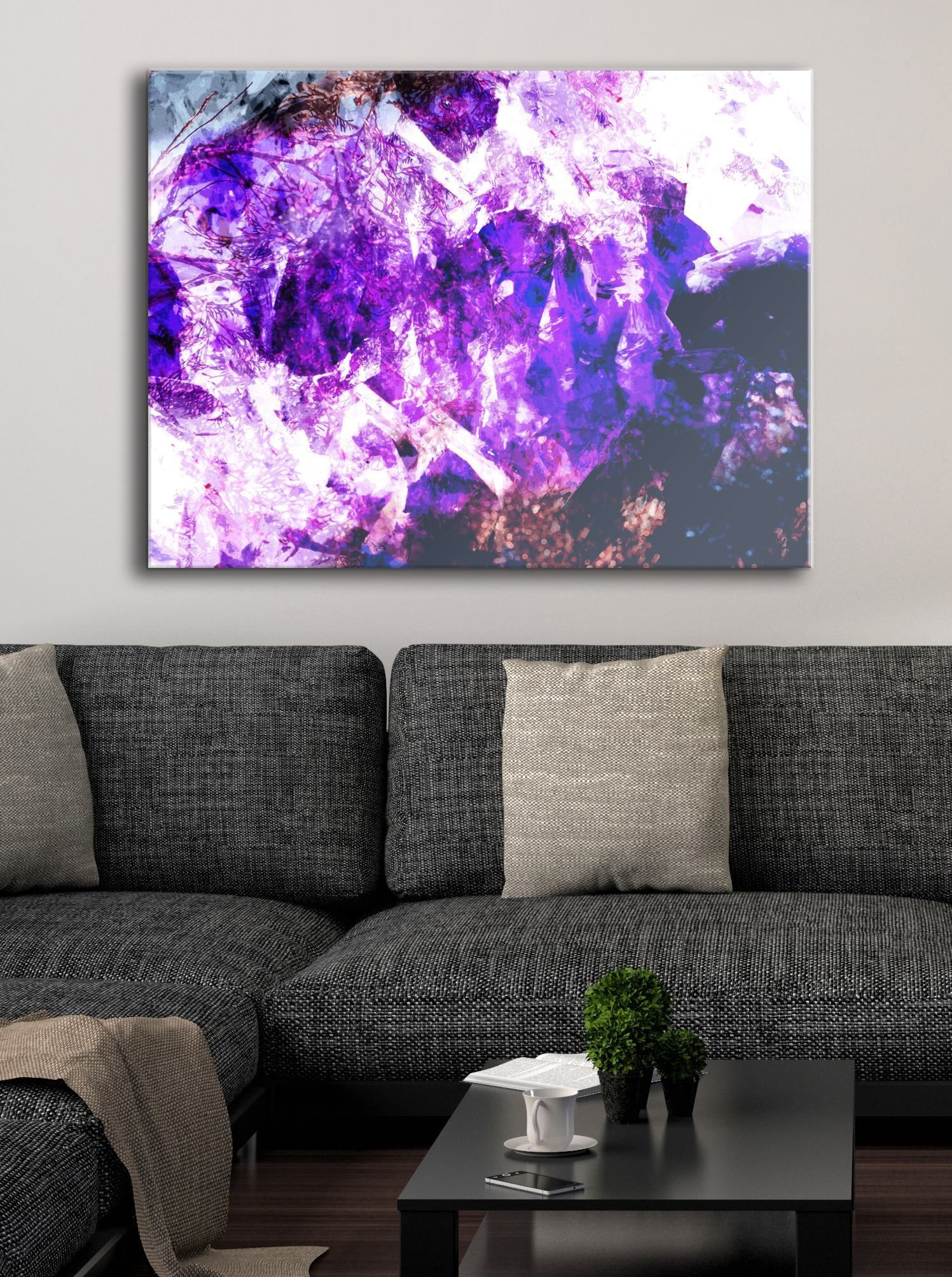 Abstract wall art purple amnesty wood frame ready to