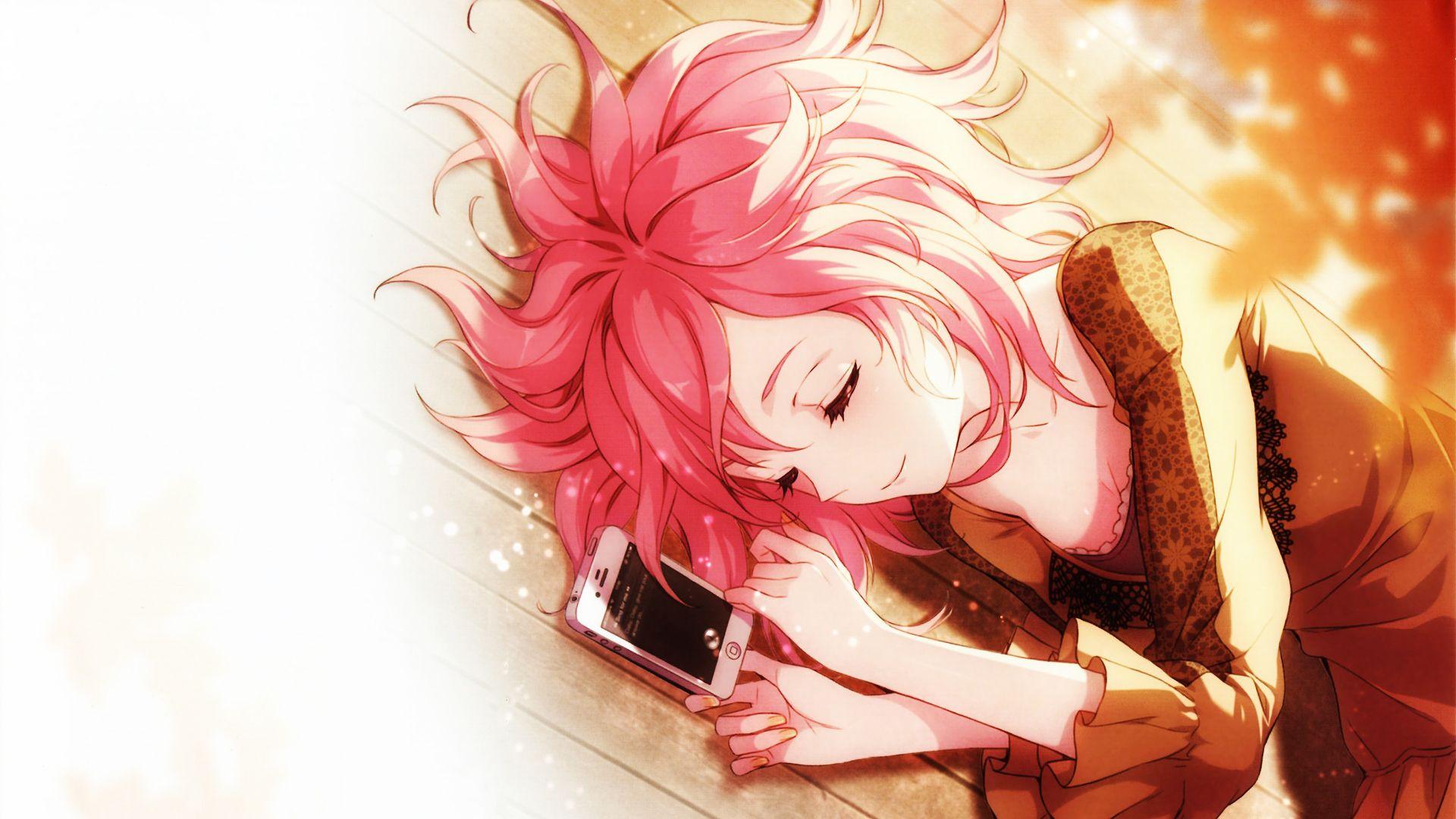 Anime original phone pink hair pretty woman anime short