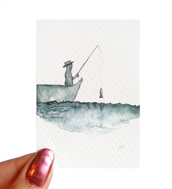 Fishermen Fish Aceo Watercolor Painting Sea Water Boat Giclee