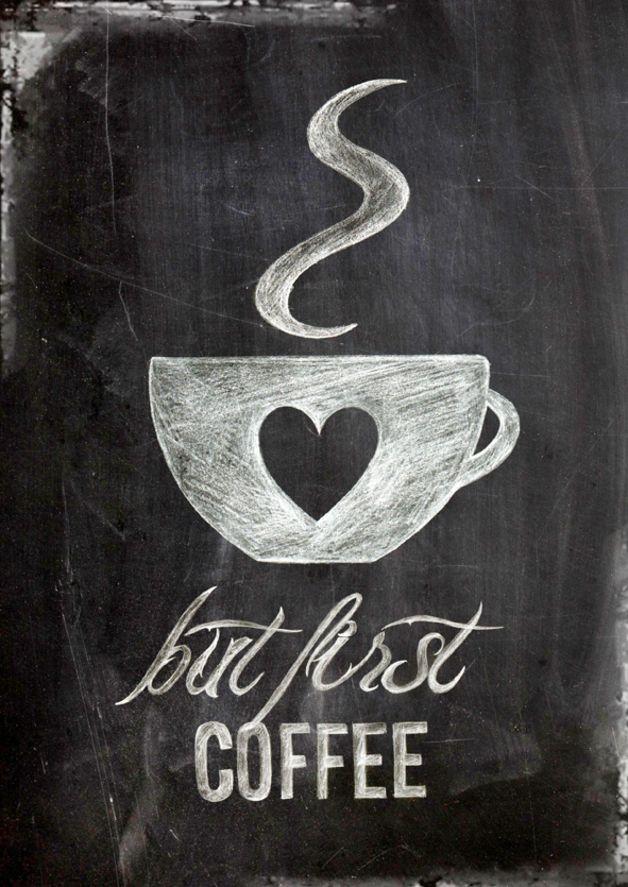 but first coffee,  Poster, Digitaldruck in DIN A4 im vintage shabby chic, Kreide auf Tafel   *UPGRADE Postergröße* Das Poster kannst Du gegen einen Aufpreis auch in DIN A3 oder in DIN A2 haben.... #coffeebarideas