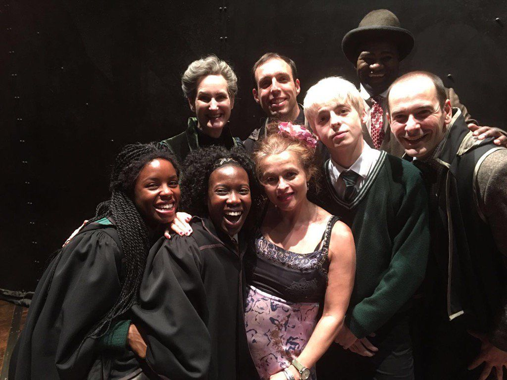 Harry Potter Stars Helena Bonham Carter Bonnie Wright Pose For Photos With Cursed Child Actors Harry Potter Cursed Child Helena Bonham Carter Cursed Child