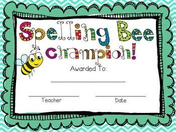 Spelling bee award freebie organize create inspire spelling bee award freebie yadclub Image collections