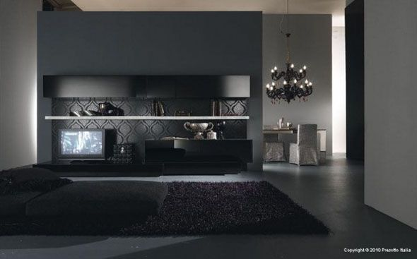 Black Modern Living Space Room Design Ideas