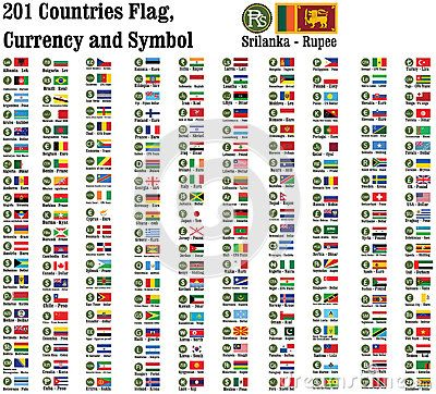 World Currency Symbols Currencies Name And Flag Of 201 Counties In