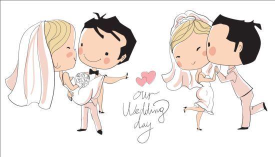 Cute Wedding Card Hand Drawn Vector 03
