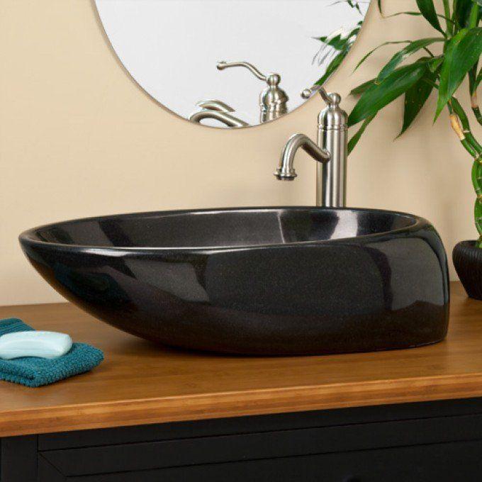 Asymmetrical Granite Vessel Sink With Dark Chiseled Exterior Bathroom Sinks
