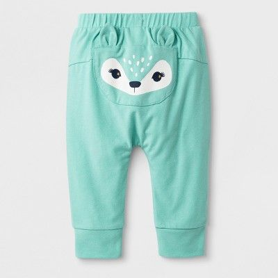 bdd73a5b026aaa Baby Girls  Fleece Deer Bum Leggings - Cat   Jack Green Newborn ...