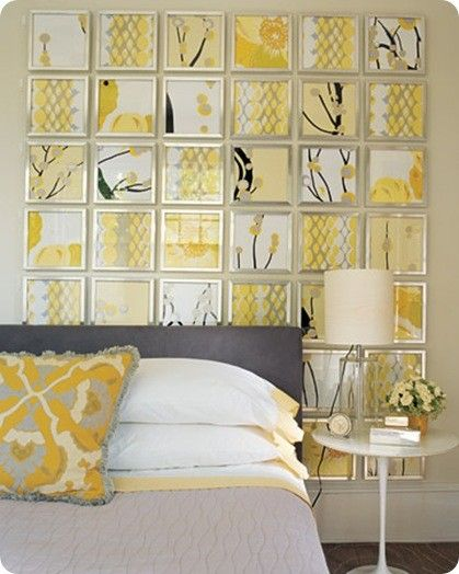 Create a grid wall installation with wallpaper scraps and cheap ...