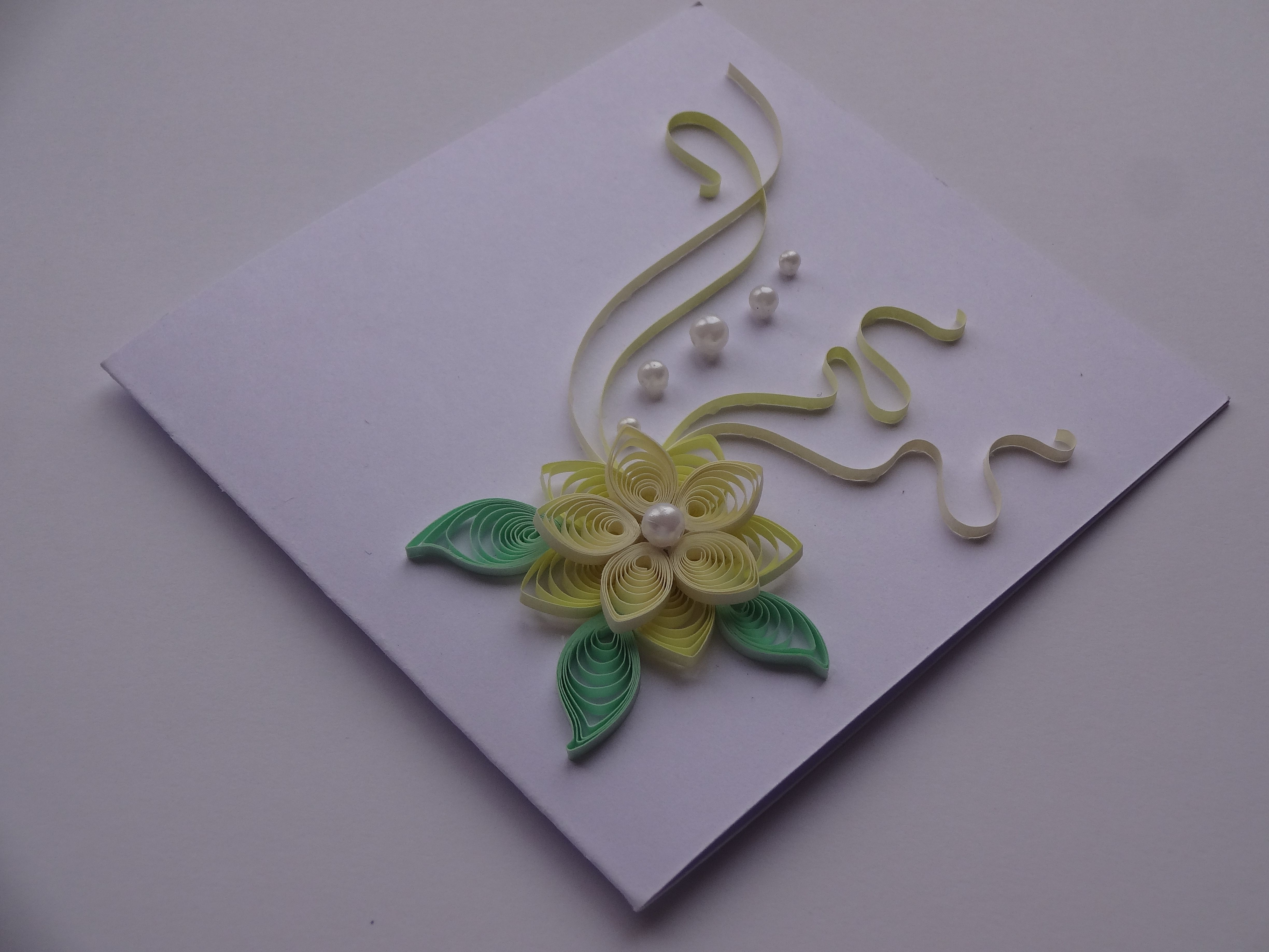 Quilled Paper Handmade Greeting Card With 3d Flower In Pale Yellow