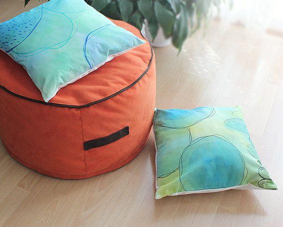 Orange Ottoman Pouf Soft Bean Bag Chair Quality Italian Furniture Fabric O70x35cm